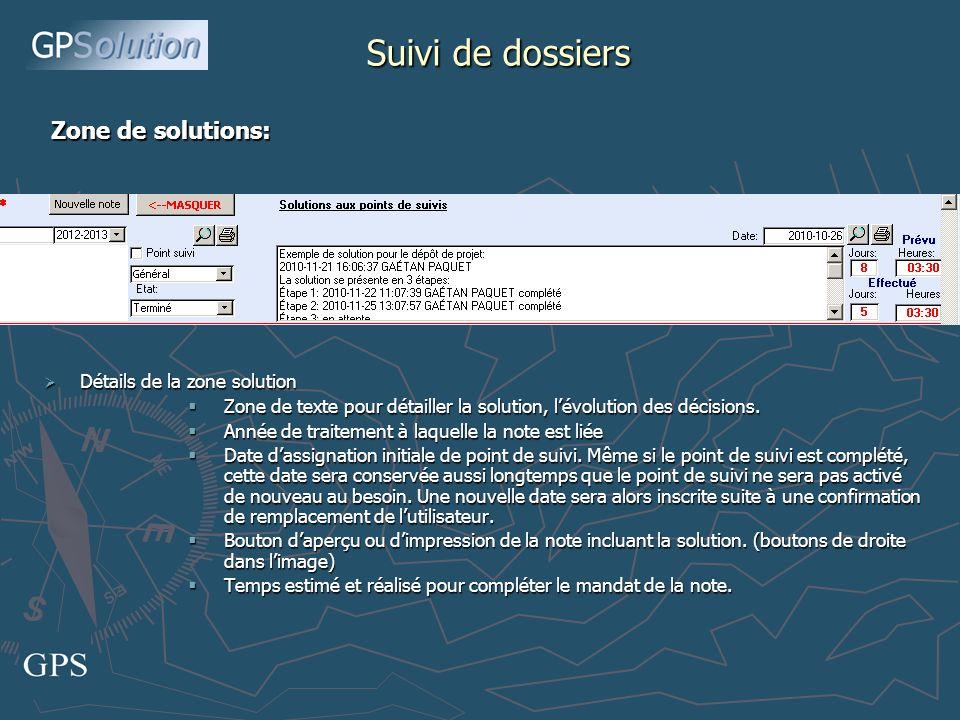 Détails de la zone solution Détails de la zone solution Zone de texte pour détailler la solution, lévolution des décisions.