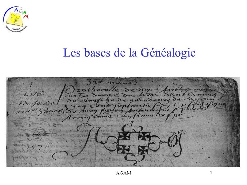 AGAM 1 Les bases de la Généalogie