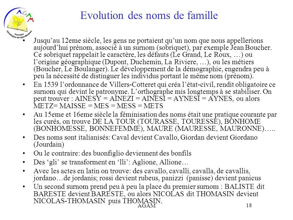 AGAM 18 Evolution des noms de famille Jusquau 12eme siècle, les gens ne portaient quun nom que nous appellerions aujourdhui prénom, associé à un surno