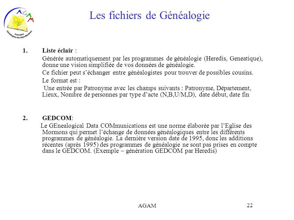 AGAM 22 Les fichiers de Généalogie 1.Liste éclair : Générée automatiquement par les programmes de généalogie (Heredis, Geneatique), donne une vision s