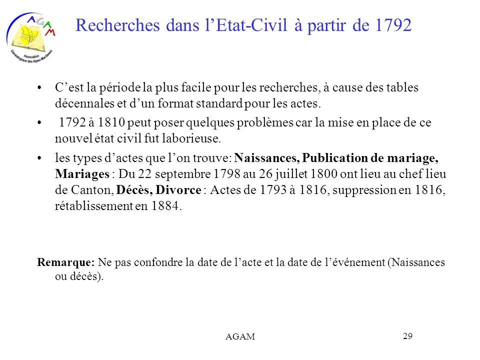 AGAM 29 Recherches dans lEtat-Civil à partir de 1792 Cest la période la plus facile pour les recherches, à cause des tables décennales et dun format s