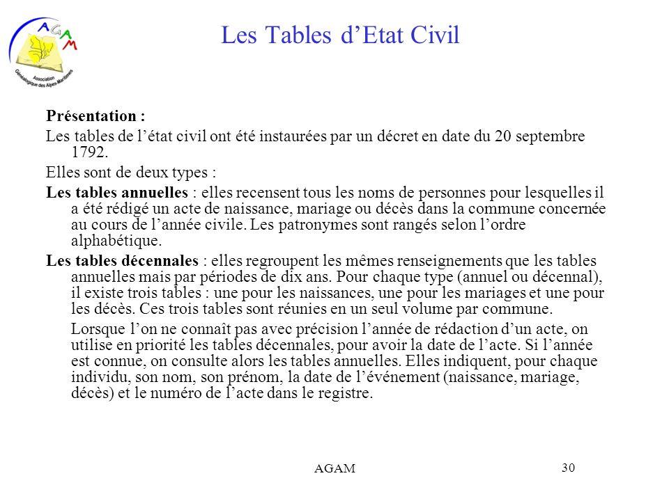 AGAM 30 Les Tables dEtat Civil Présentation : Les tables de létat civil ont été instaurées par un décret en date du 20 septembre 1792. Elles sont de d