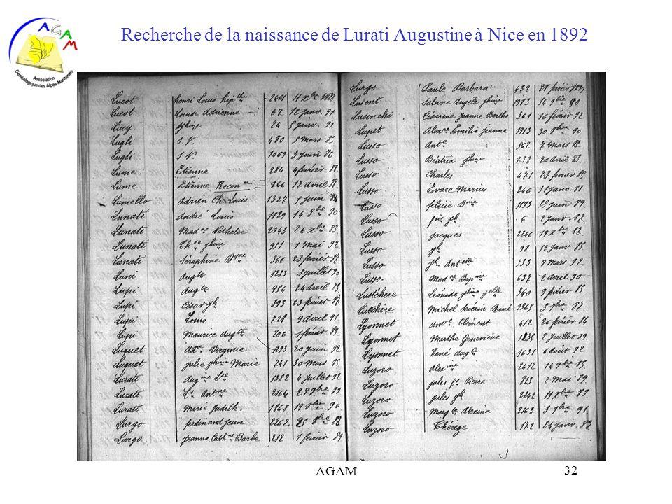 AGAM 32 Recherche de la naissance de Lurati Augustine à Nice en 1892