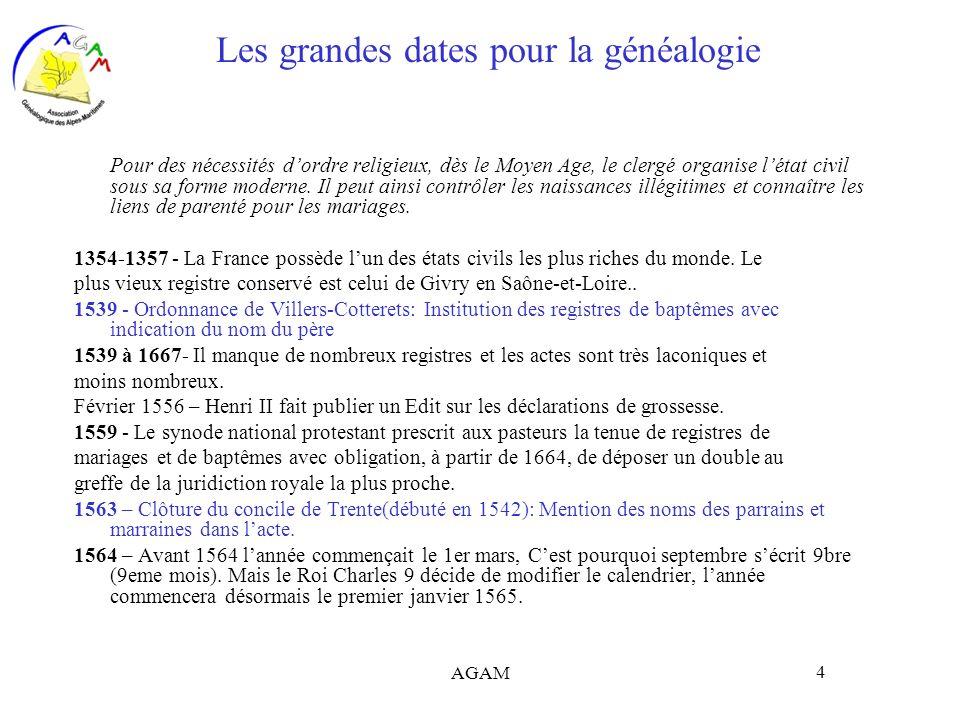 AGAM 4 Les grandes dates pour la généalogie Pour des nécessités dordre religieux, dès le Moyen Age, le clergé organise létat civil sous sa forme moder