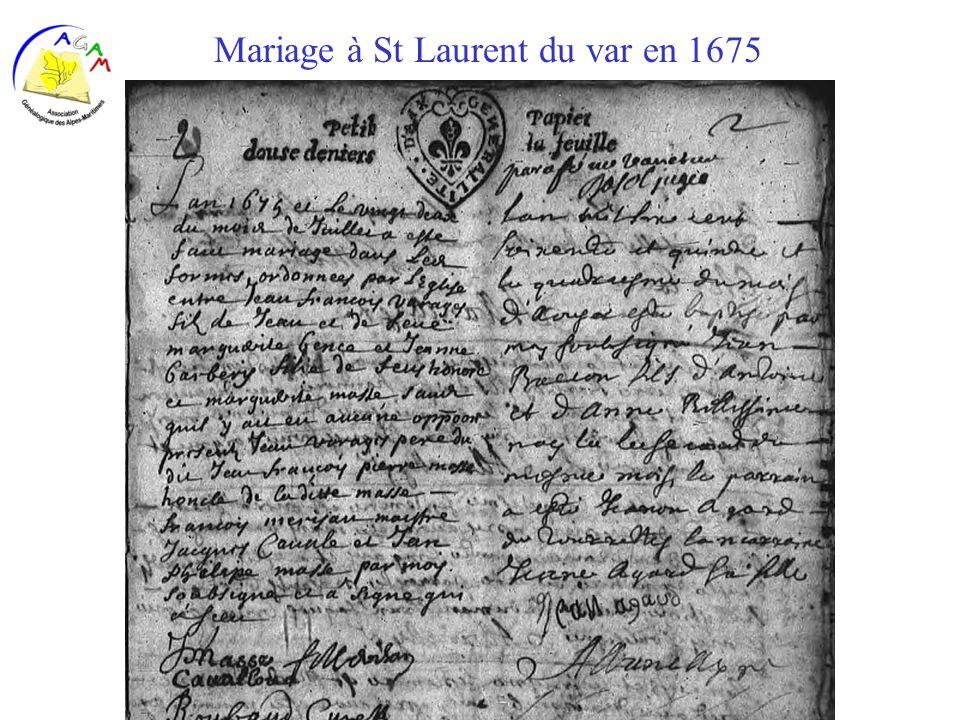 AGAM 40 Mariage à St Laurent du var en 1675
