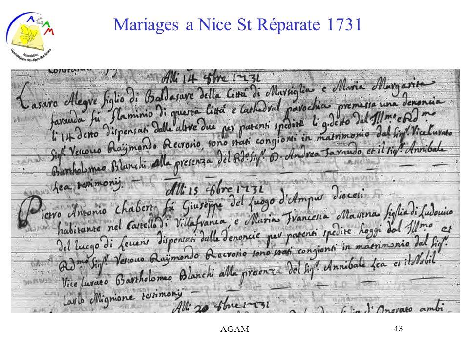 AGAM 43 Mariages a Nice St Réparate 1731