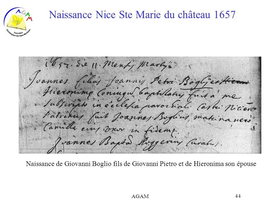 AGAM 44 Naissance Nice Ste Marie du château 1657 Naissance de Giovanni Boglio fils de Giovanni Pietro et de Hieronima son épouse