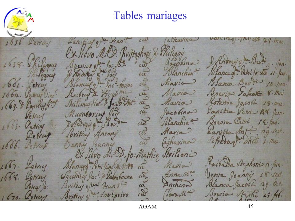 AGAM 45 Tables mariages