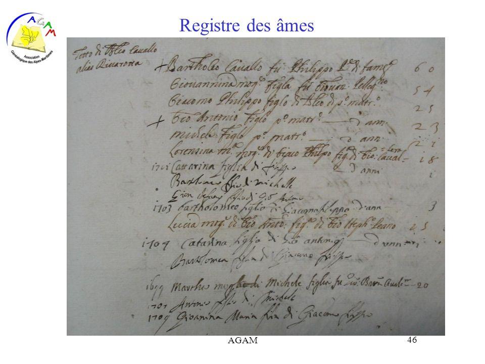 AGAM 46 Registre des âmes
