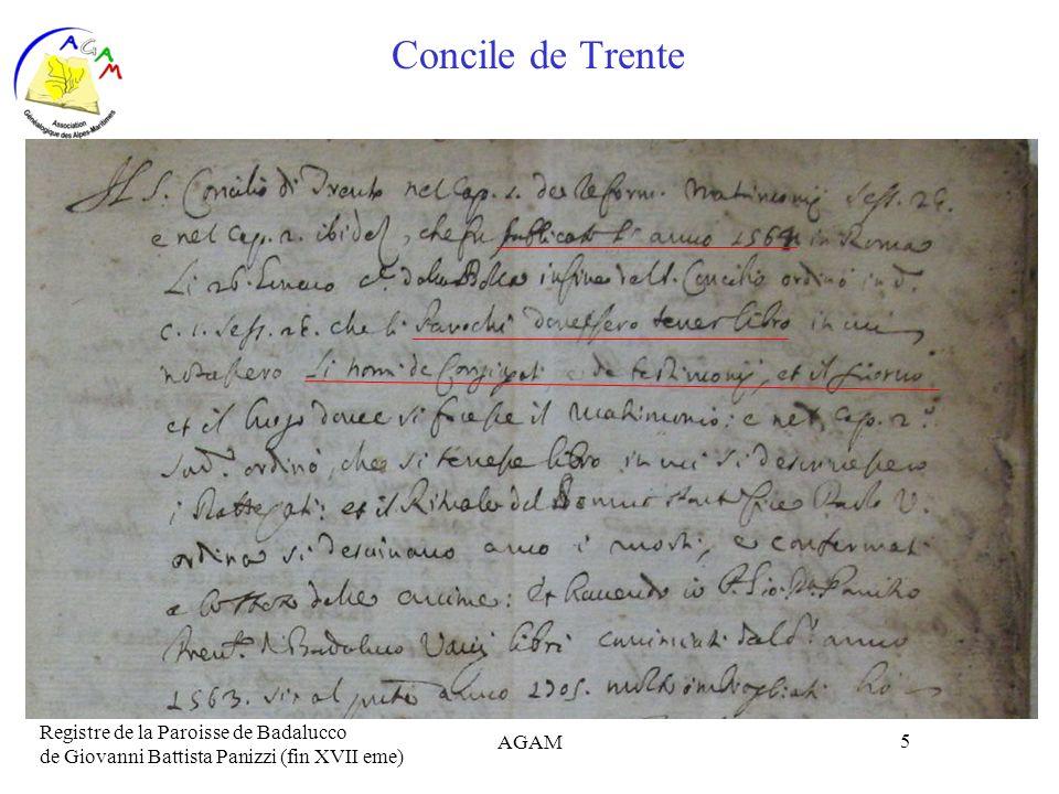 AGAM 5 Concile de Trente Registre de la Paroisse de Badalucco de Giovanni Battista Panizzi (fin XVII eme)