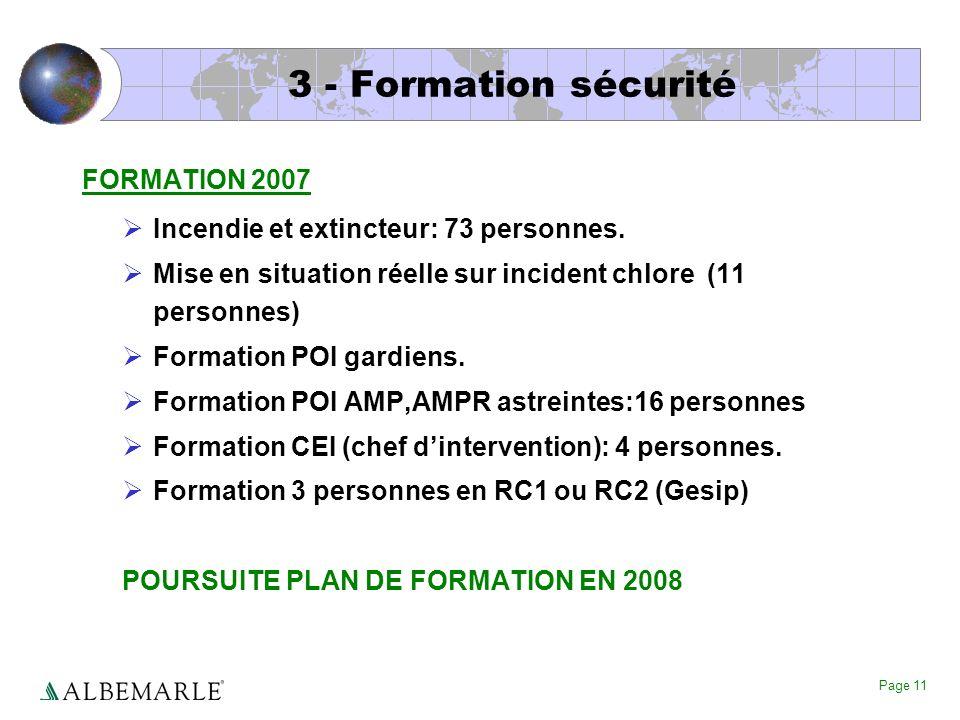 Page 11 3 - Formation sécurité FORMATION 2007 Incendie et extincteur: 73 personnes. Mise en situation réelle sur incident chlore (11 personnes) Format