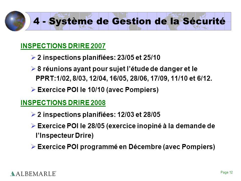 Page 12 4 - Système de Gestion de la Sécurité INSPECTIONS DRIRE 2007 2 inspections planifiées: 23/05 et 25/10 8 réunions ayant pour sujet létude de da