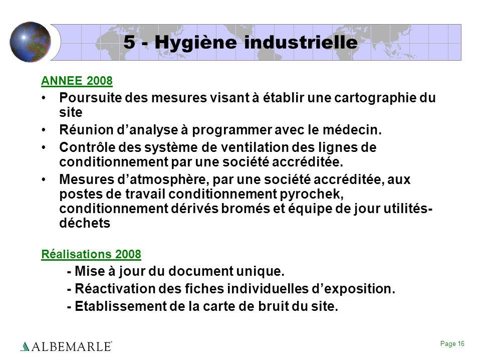 Page 16 5 - Hygiène industrielle ANNEE 2008 Poursuite des mesures visant à établir une cartographie du site Réunion danalyse à programmer avec le méde