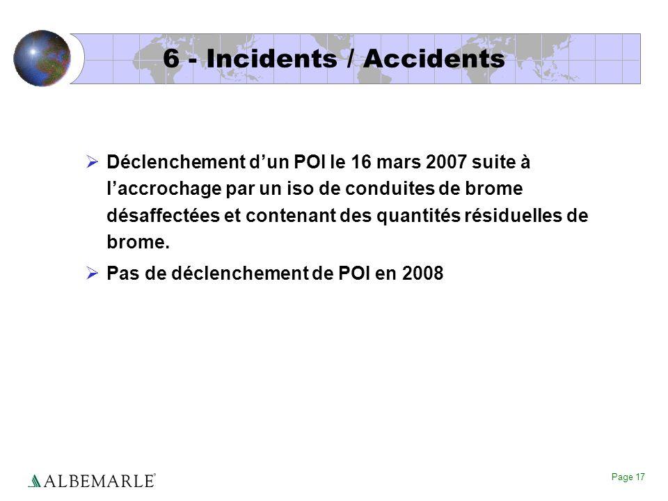Page 17 6 - Incidents / Accidents Déclenchement dun POI le 16 mars 2007 suite à laccrochage par un iso de conduites de brome désaffectées et contenant