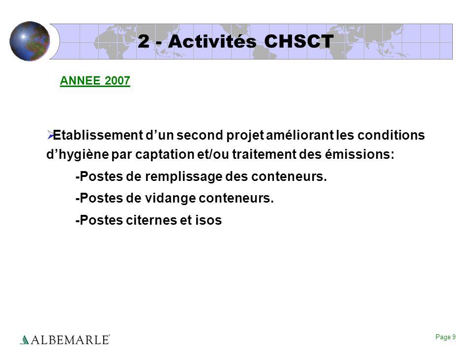 Page 9 2 - Activités CHSCT Etablissement dun second projet améliorant les conditions dhygiène par captation et/ou traitement des émissions: -Postes de