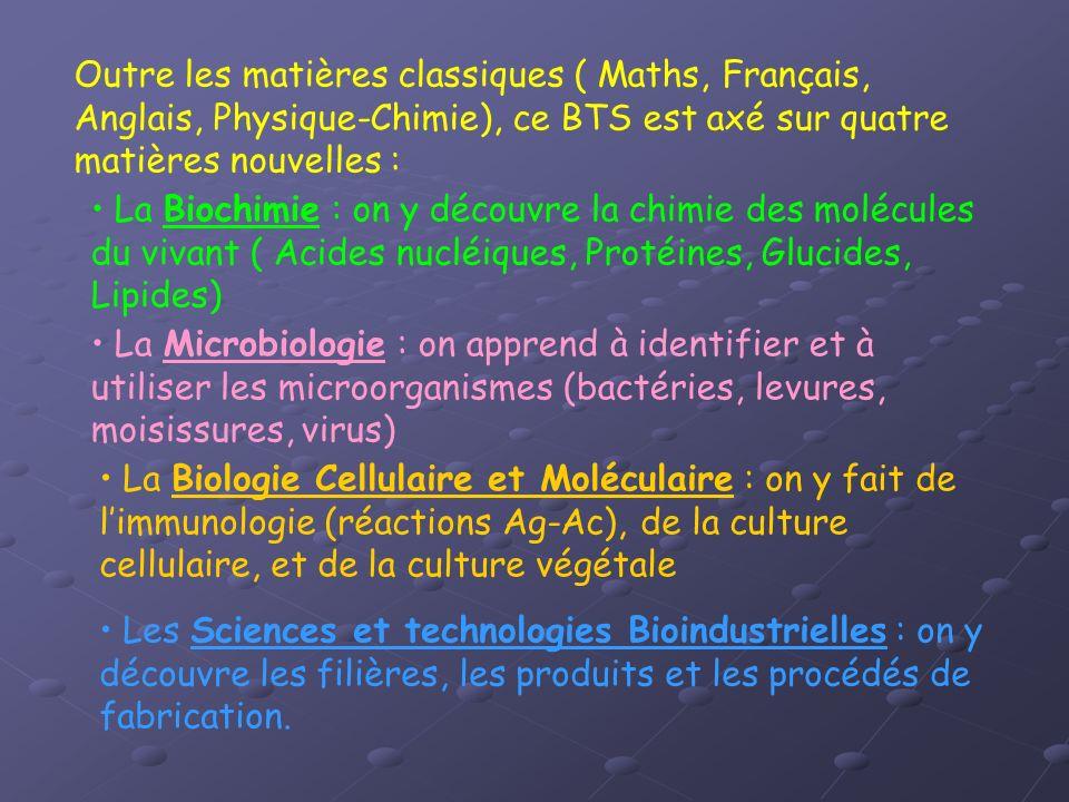 Outre les matières classiques ( Maths, Français, Anglais, Physique-Chimie), ce BTS est axé sur quatre matières nouvelles : La Biochimie : on y découvr