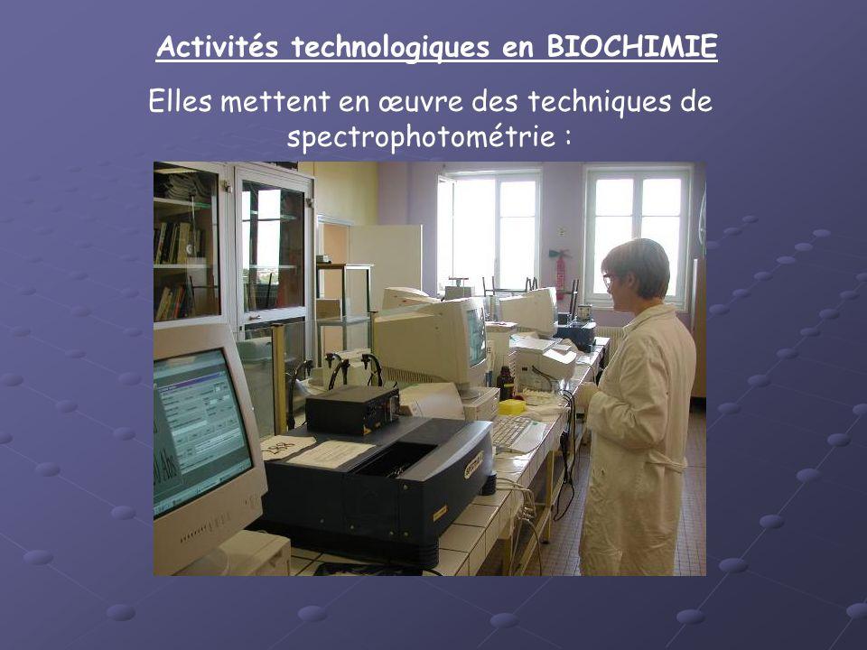 Activités technologiques en BIOCHIMIE Elles mettent en œuvre des techniques de spectrophotométrie :