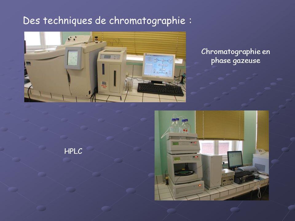Des techniques de chromatographie : Chromatographie en phase gazeuse HPLC