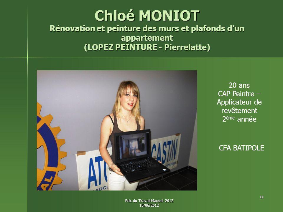 Chloé MONIOT Rénovation et peinture des murs et plafonds d'un appartement (LOPEZ PEINTURE - Pierrelatte) 20 ans CAP Peintre – Applicateur de revêtemen