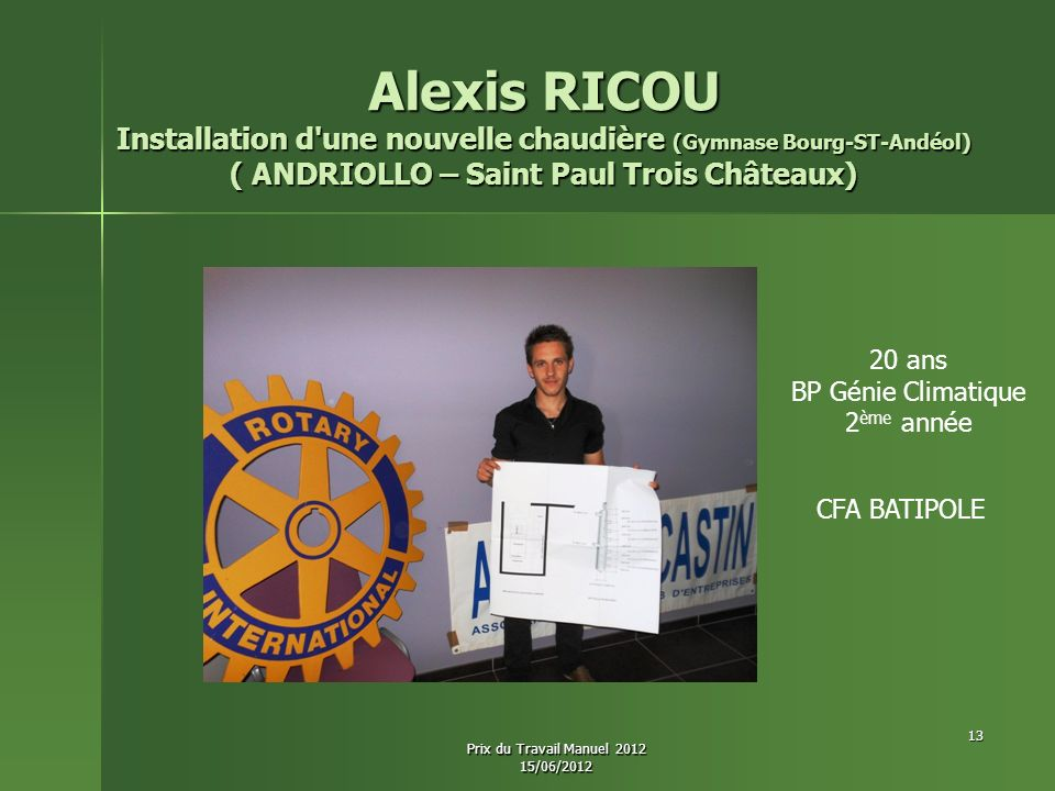 Alexis RICOU Installation d'une nouvelle chaudière (Gymnase Bourg-ST-Andéol) ( ANDRIOLLO – Saint Paul Trois Châteaux) 20 ans BP Génie Climatique 2 ème
