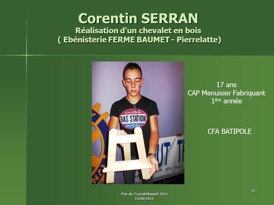 Corentin SERRAN Réalisation d'un chevalet en bois ( Ebénisterie FERME BAUMET - Pierrelatte) ( Ebénisterie FERME BAUMET - Pierrelatte) 17 ans CAP Menui