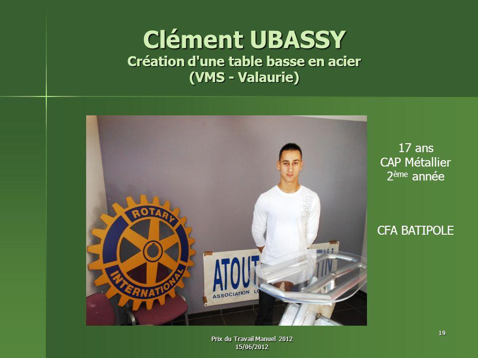 Clément UBASSY Création d'une table basse en acier (VMS - Valaurie) 17 ans CAP Métallier 2 ème année CFA BATIPOLE 19 Prix du Travail Manuel 2012 15/06