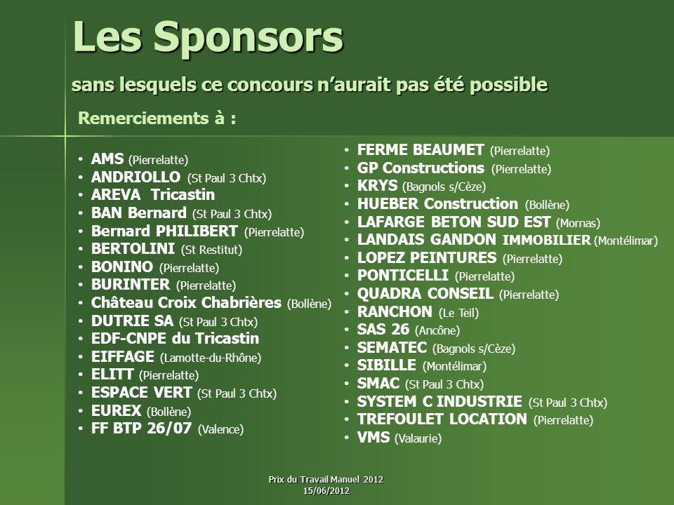 Les Sponsors sans lesquels ce concours naurait pas été possible sans lesquels ce concours naurait pas été possible AMS (Pierrelatte) ANDRIOLLO (St Pau
