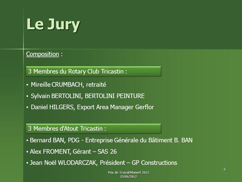 Le Jury Composition : Mireille CRUMBACH, retraité Sylvain BERTOLINI, BERTOLINI PEINTURE Daniel HILGERS, Export Area Manager Gerflor 3 Membres du Rotar