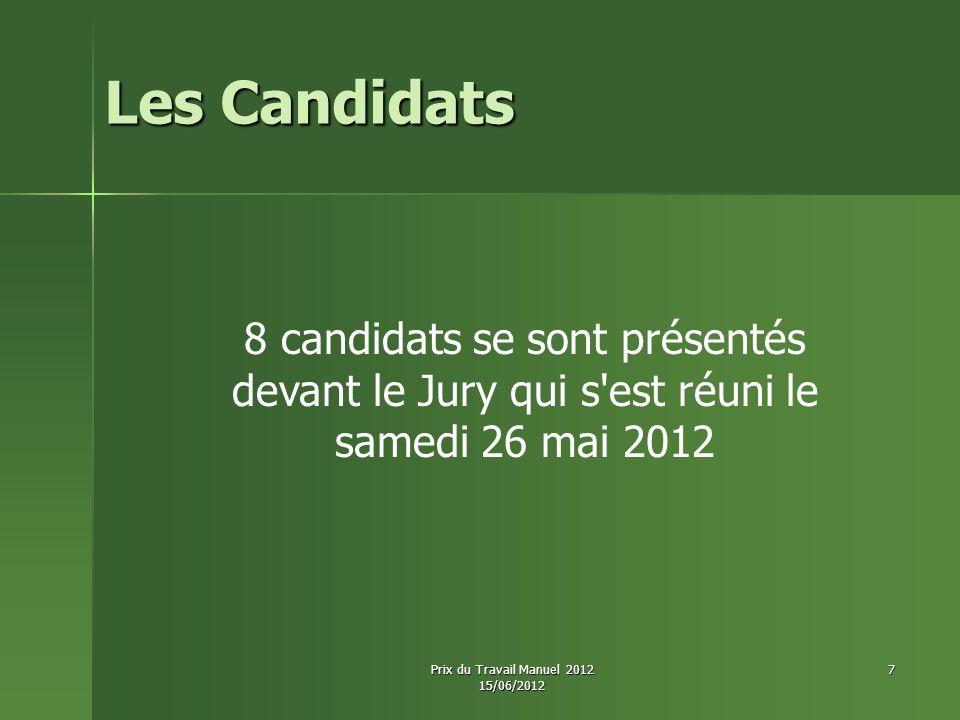 Les Candidats 8 candidats se sont présentés devant le Jury qui s'est réuni le samedi 26 mai 2012 Prix du Travail Manuel 2012 15/06/2012 7
