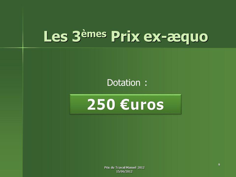 Les 3èmes Prix ex-æquo Dotation : 9 Prix du Travail Manuel 2012 15/06/2012