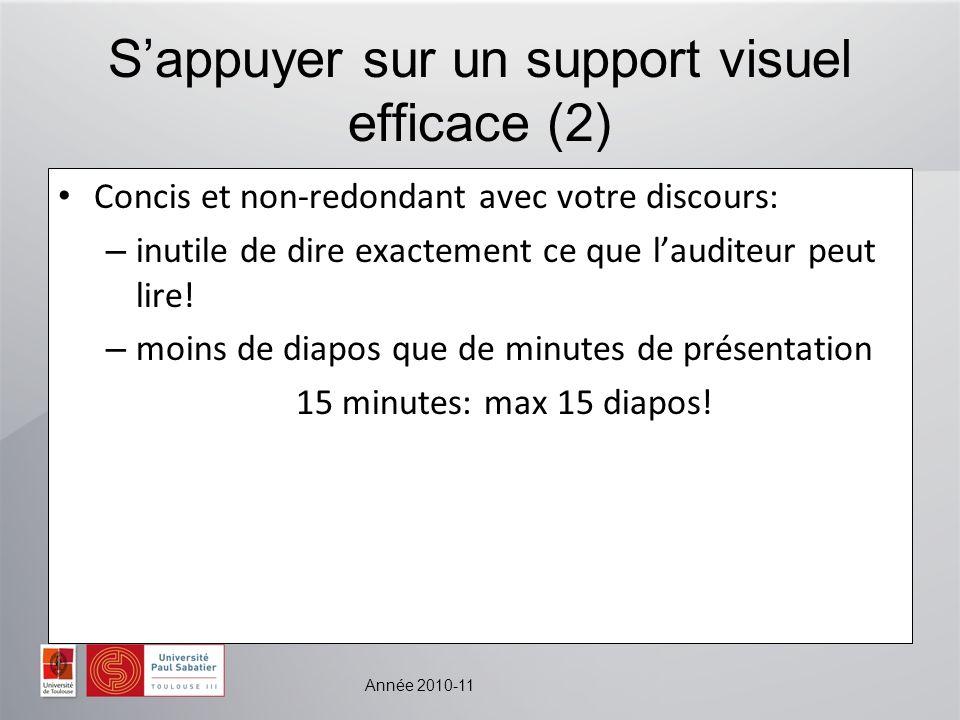 Année 2010-11 Sappuyer sur un support visuel efficace (2) Concis et non-redondant avec votre discours: – inutile de dire exactement ce que lauditeur p