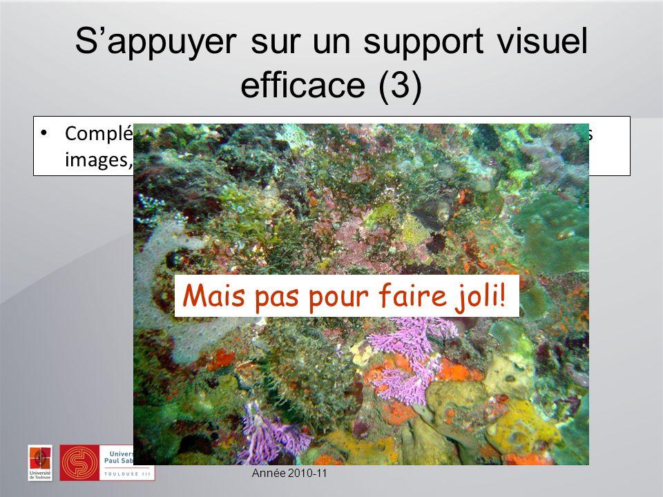 Année 2010-11 Sappuyer sur un support visuel efficace (3) Complémentaire : il permet de présenter des schémas, des images, des graphiques… Mais pas pour faire joli!