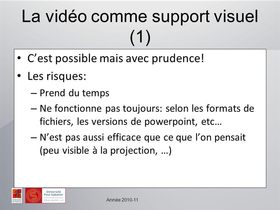 Année 2010-11 La vidéo comme support visuel (1) Cest possible mais avec prudence! Les risques: – Prend du temps – Ne fonctionne pas toujours: selon le