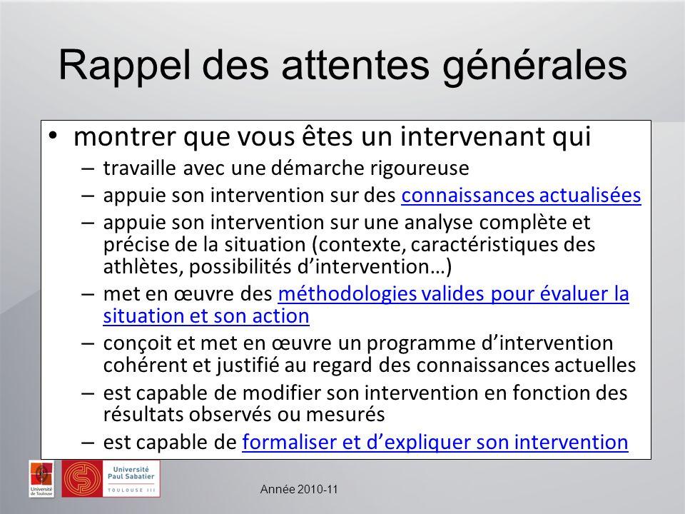Année 2010-11 Rappel des attentes générales montrer que vous êtes un intervenant qui – travaille avec une démarche rigoureuse – appuie son interventio