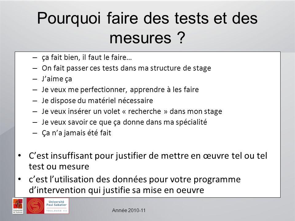 Année 2010-11 Pourquoi faire des tests et des mesures ? – ça fait bien, il faut le faire… – On fait passer ces tests dans ma structure de stage – Jaim