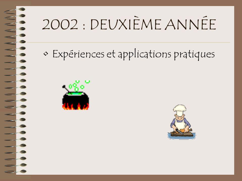 2002 : DEUXIÈME ANNÉE Expériences et applications pratiques