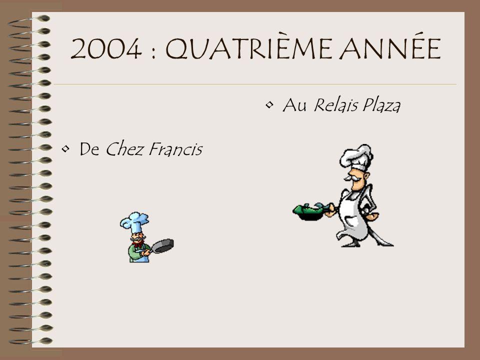 2004 : QUATRIÈME ANNÉE De Chez Francis Au Relais Plaza