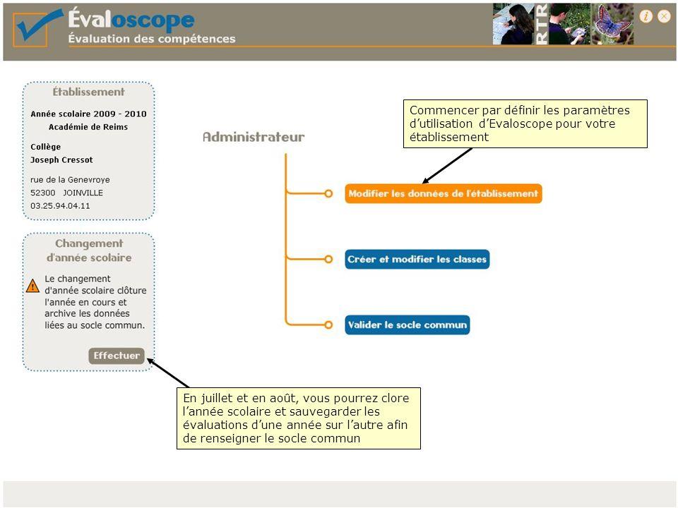 Commencer par définir les paramètres dutilisation dEvaloscope pour votre établissement En juillet et en août, vous pourrez clore lannée scolaire et sa