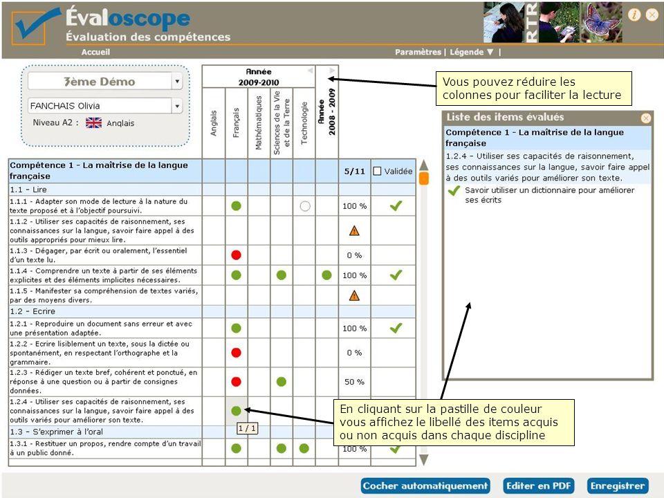 Vous pouvez réduire les colonnes pour faciliter la lecture En cliquant sur la pastille de couleur vous affichez le libellé des items acquis ou non acquis dans chaque discipline