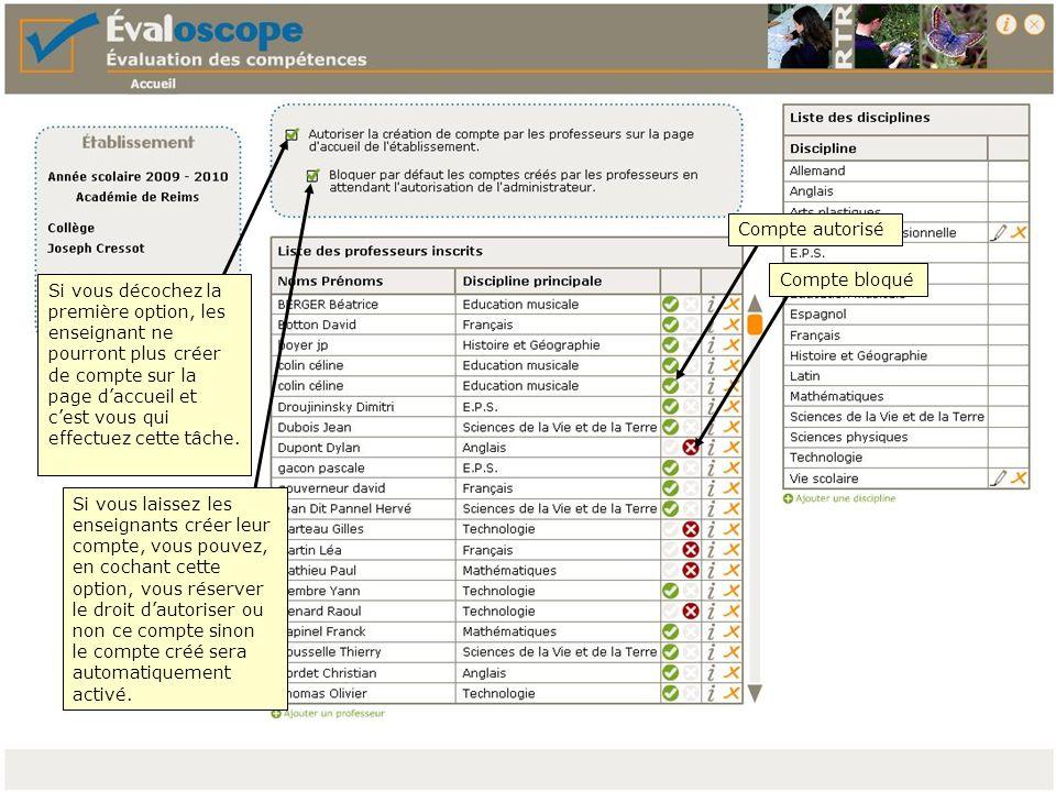 Si vous vous réservez la création des comptes des enseignants, cliquez ici Complétez la boîte de dialogue et transmettez les informations au professeur concerné.