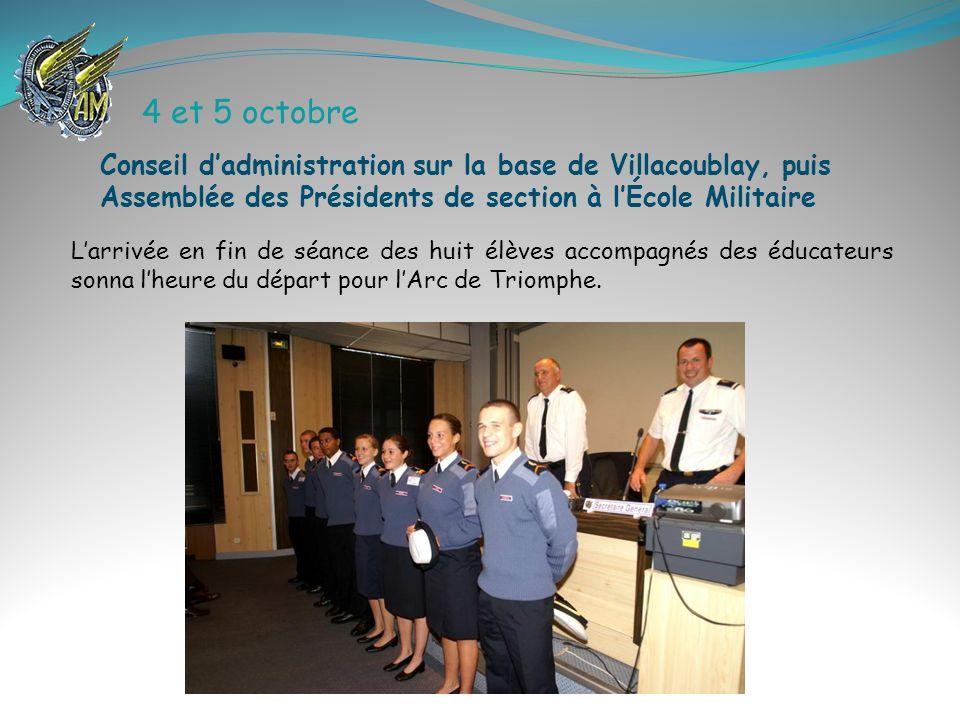 4 et 5 octobre Larrivée en fin de séance des huit élèves accompagnés des éducateurs sonna lheure du départ pour lArc de Triomphe. Conseil dadministrat