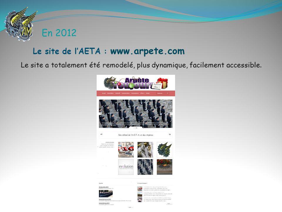 En 2012 Le site a totalement été remodelé, plus dynamique, facilement accessible. Le site de lAETA : www.arpete.com