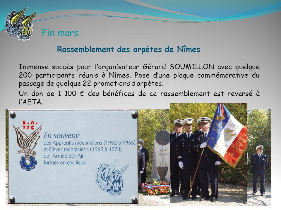 Immense succès pour lorganisateur Gérard SOUMILLON avec quelque 200 participants réunis à Nîmes. Pose dune plaque commémorative du passage de quelque