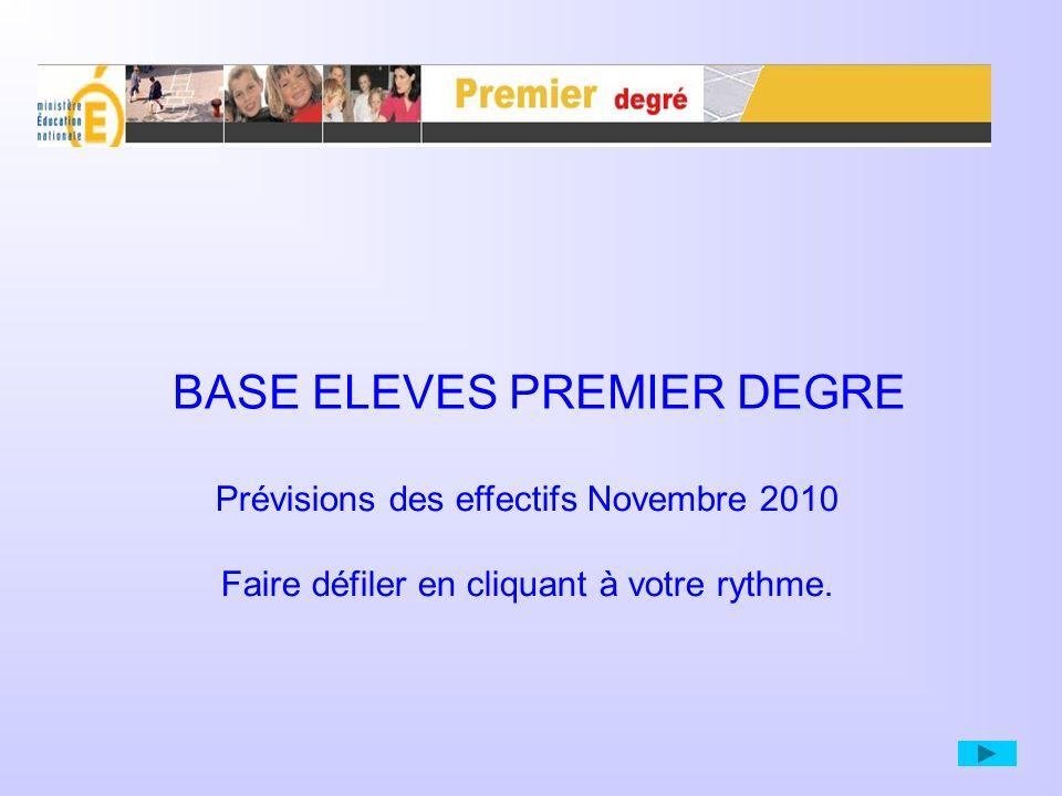 BASE ELEVES PREMIER DEGRE Prévisions des effectifs Novembre 2010 Faire défiler en cliquant à votre rythme.