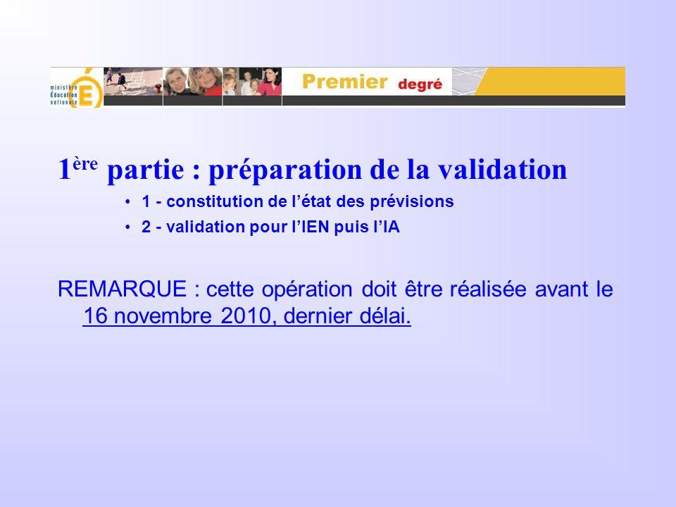 1 ère partie : préparation de la validation 1 - constitution de létat des prévisions 2 - validation pour lIEN puis lIA REMARQUE : cette opération doit être réalisée avant le 16 novembre 2010, dernier délai.