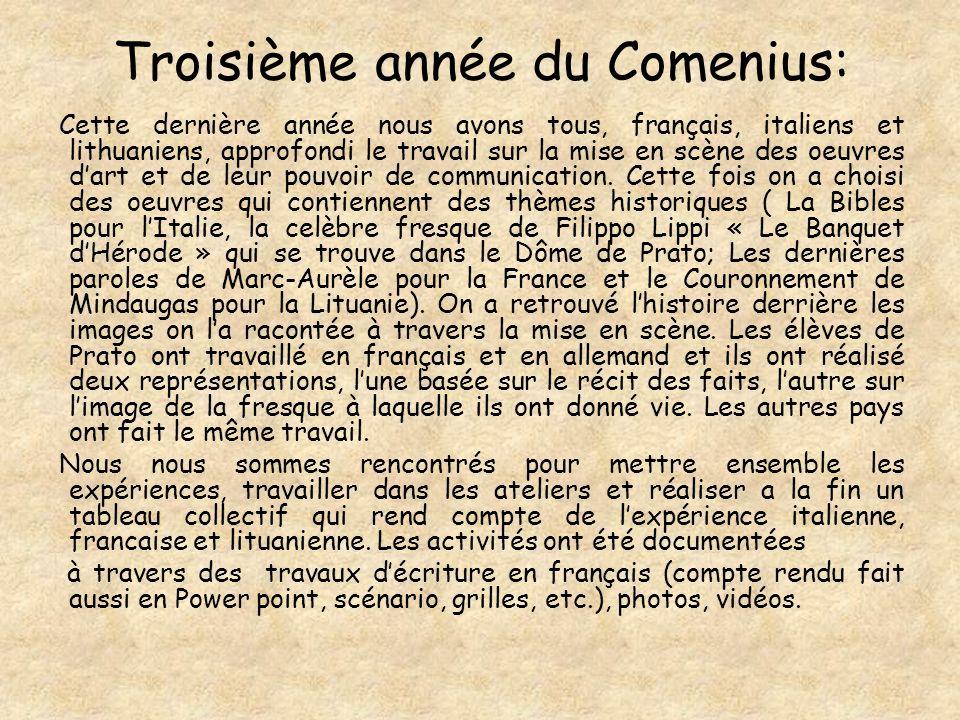 Troisième année du Comenius: Cette dernière année nous avons tous, français, italiens et lithuaniens, approfondi le travail sur la mise en scène des oeuvres dart et de leur pouvoir de communication.