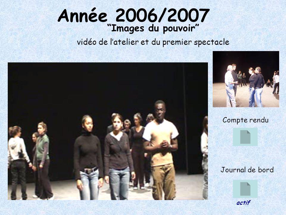 Année 2006/2007 Images du pouvoir vidéo de latelier et du premier spectacle Compte rendu Journal de bord actif