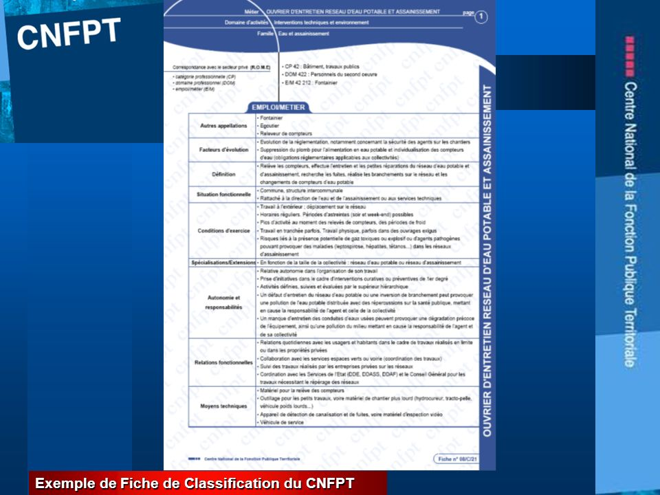 PROPOSITIONS CGT - CFTC 23 Exemple de Fiche de Classification du CNFPT
