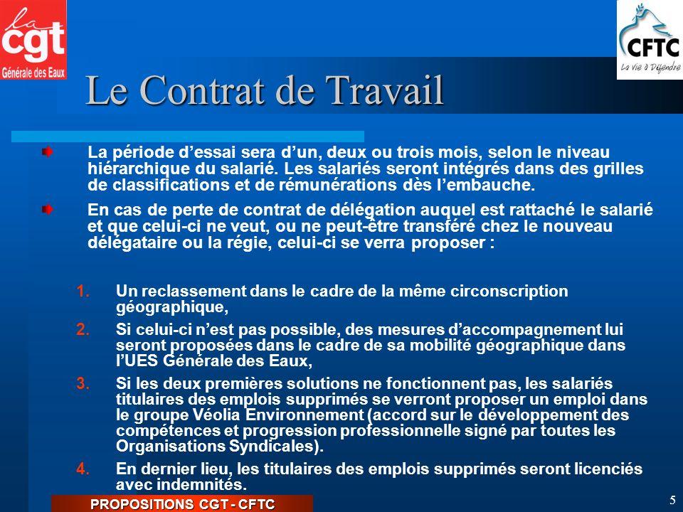 PROPOSITIONS CGT - CFTC 4 Le Contrat de Travail Les salariés sont embauchés sous couvert dune lettre dembauche.