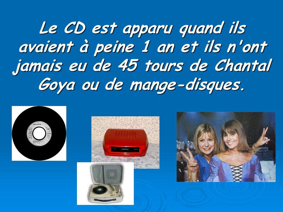 Le CD est apparu quand ils avaient à peine 1 an et ils n'ont jamais eu de 45 tours de Chantal Goya ou de mange-disques.